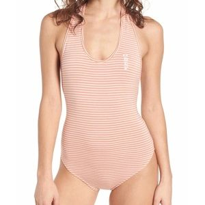 NWT Obey Striped Halter Muted Clay Bodysuit